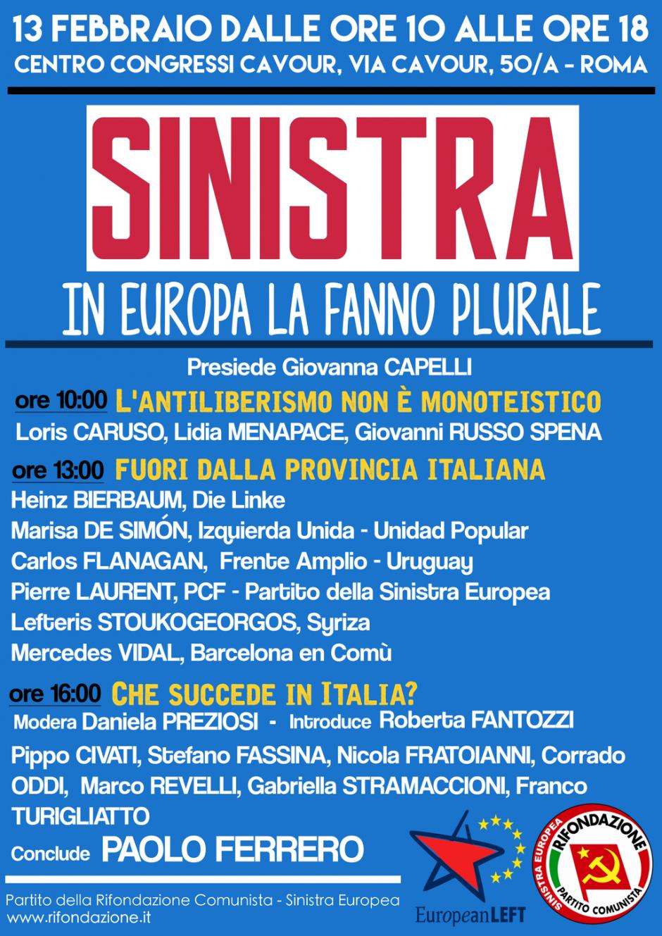 [Italie] Conférences sur l'avenir de la gauche en Europe