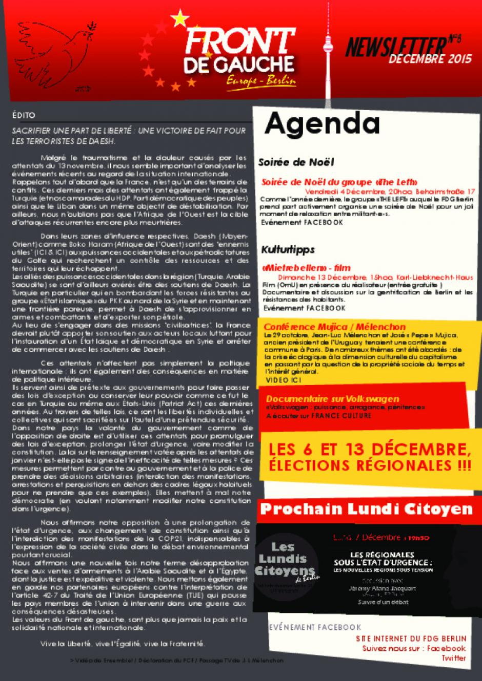 [Berlin] Newsletter du FDG - n°8 - Décembre 2015
