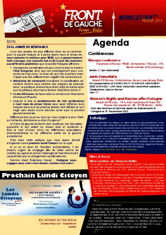 [Berlin] Newsletter du FDG - n°9 - Février 2016