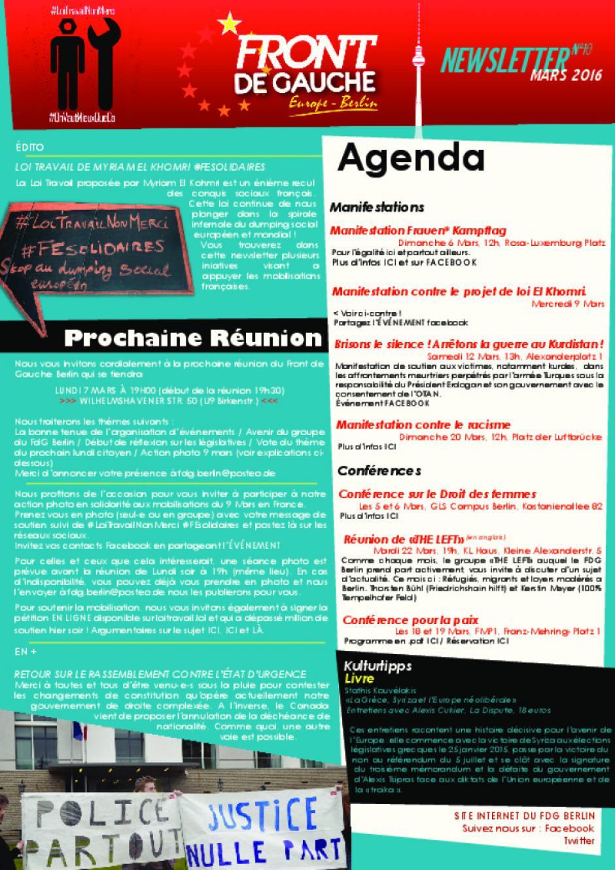 [Berlin] Newsletter du FDG - n°10 - Mars 2016