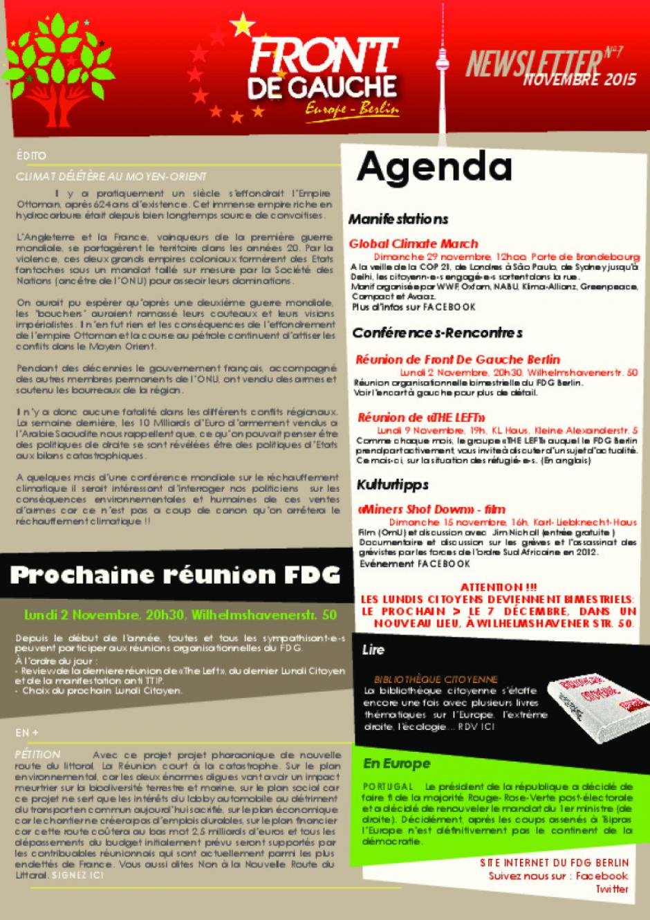 [Berlin] Newsletter du FDG - n°7 - Novembre 2015