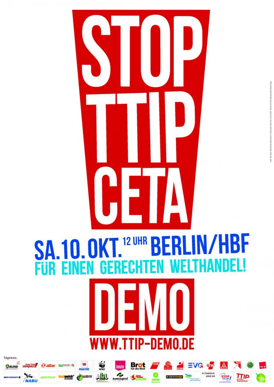 [Berlin] Grosse manifestation contre les traités de libres échanges TTIP et CETA