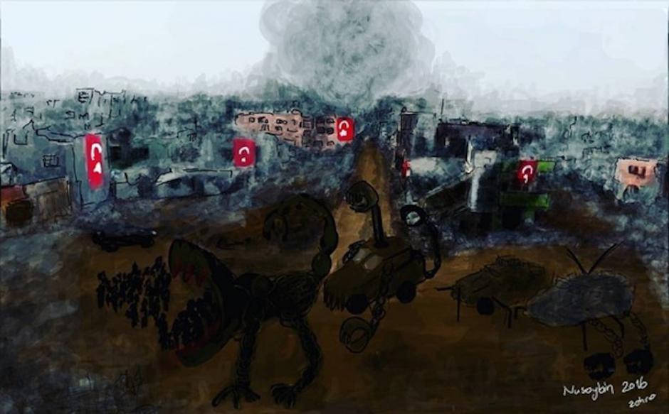 L'artiste turque Zehra Doğan condamnée à de la prison pour avoir peint l'attaque sur une ville kurde.